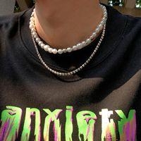 Chokers SHIXIN Punk Layered Pearl Beads Choker Necklaces Set For Men Women Shiny Rhinestone Chains On The Neck Fashion Jewelry