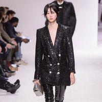 Women's Suits & Blazers Luxury Sequins Blazer Runway Designer Double Breasted Buttons Female Formal Slim Jacket Women Black Coat 2021 Winter