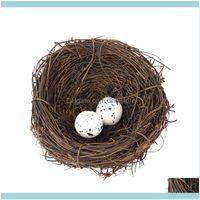 Pet Supplies Home & Garden16Pcs Simulation Rattan Bird Nest Easter Egg Ornament Party Diy Decor (4Pcs 10Cm Nest, 12Pcs Eggs) Cages Drop Deli