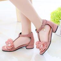 Sandals Kid Beach Shoes Roman Children'S Sandal Size 33 Princess Summer Girl Flower Fashion Pink Gladiator High Heels 2021
