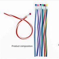 7 unids / pack plástico lápiz flexible de siete piezas juego juguetes regalos estudiante colorido mágico blanqueo suave lápices suaves con borrador conjunto de la escuela DHA5240