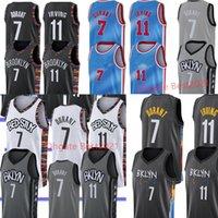 James 13 Harden Jersey Kevin 7 Durant 11 Irving رجل Kyrie كرة السلة الفانيلة أبيض أسود مخيط الحجم S-XXL