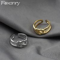 Foxanry 925 Стерлинговое Серебро Любовь Кольца Сердце для Женщин Пары Новая Мода Франция Позолоченные Геометрические Невеста Ювелирные Изделия Y0426