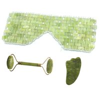 Natural Jade Eye Mask Face Massage Roller Guasha Board Scraper Set Cold Therapy Facial Relaxing Sleep Gift