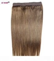 """16""""-22"""" 100% Brazilian Remy Human hair 70g Fish Wine Halo Hair Flips in on Human Hair Extension 1pcs set Non-Clips Natural Straigh"""