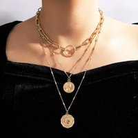 Tocona Punk Thick Chain Coin Pendant Neckalce For Women Gold Color Multi-layer Geometric Jewelry Accessories Collar 17943 Chains
