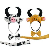 Hair Accessories Child Adults Cow Milk Horn Ear Headband Animal Cosplay Costume Band Birthday Party Props Wedding Baby Shower Haiband Set