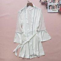 Women's Sleepwear Lace Sleeve Kimono Robe Gown Satin Femme Perspective V-Neck Bathrobe Home Dressing Sexy Bridal Wedding Loungewear