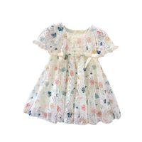 Girls Designer Dress Summer Fashion Princess Dress Kids Trend Breathable Lace Mesh Flower Embroidered Dresses Child Designer Clothing