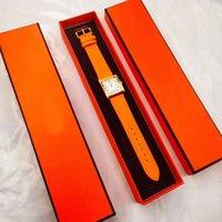 2021 فاشوين ستايل ساحة تصاميم المرأة ووتش البرتقال حركة الكوارتز جودة عالية جلد اللباس الساعات سيدة ساعة مونتر دي لوكس مع مربع
