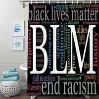 Vidas negras Matéria Duche Cortina BLM Palavra Tecido à prova d'água para banheiro cortinas de decoração definido com ganchos