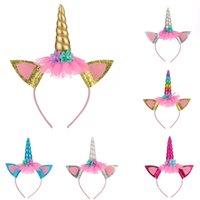 Unicorn Horn Hairbänder für Kinder Mädchen Party Headwear Pailletten Ribbon Bögen Stirnbänder Kinder Fotografie Requisiten