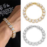 Link, Chain Fashion Hiphop Luxury Bracelets For Men 10mm Cuban Link Gold Silver Color Bracelet Jewelry Full CZ Rhinestone