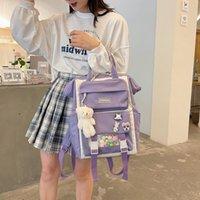 Backpack Women's Lovely Leisure Large Capacity Girls Laptop Backpacks Keychain School Bags Travel Bagpack Teenagers