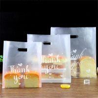 선물 포장 10pc 고맙습니다 플라스틱 가방 투명 쇼핑 가방 캔디 케이크 핸들 생일 결혼식 파티와 함께 포장