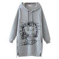 Women's Hoodies & Sweatshirts In Stock Long Women Sweatshirt Dresses Cartoon Girl Print Sleeve Splited Hoodie Pullover #8