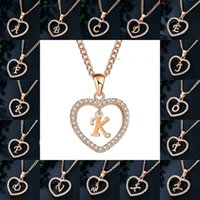 Kimter Capital Heart Necklace for Women Girls Charm Personality 26 Letter CZ Love Pendant A-Z Alphabet Necklaces Fashion Jewelry P161FA