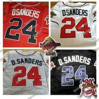 Custom 1995 серии разборок бейсбол Джерси 24 Джерси 24 Deion Sanders двойной патч Altanta 1995 Service серии из бейсбола Джерси черное красное белое серое высокое качество