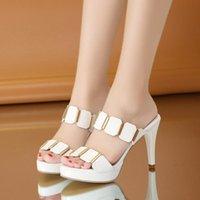 Dress Shoes 9cm High Heels Platform Black White Sandals For Women Heel Gladiator Sandal Summer Shoe Woman Slippers Mules