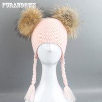 Bonnet d'hiver d'automne pour enfants Bonnet de queue de queue de queue de queue 15 cm Véritable fourrure Pompon chapeau en laine chapeau en laine chapeau enfants enfants garçons girls oreiller chapeau