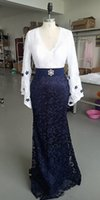 Navy Blue Long Sleeves Mother of the Bride Lace Arabic Moroccan Dubai Kaftan Women Wear Prom Party Formal Event Gown