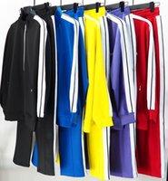 رجال رياضية عارضة مصمم الأزياء الصلبة اللون الرياضي سترة بدلة قطعتين