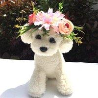 Köpek Giyim Pet Çiçek Kafa Band Düğün Yaka Kedi Şapkalar Moda Simülasyon Yüzük Hoop Bandı