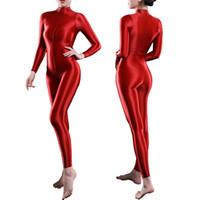 Lingerie Sıcak Stil Bayan Erotik Bodysuit Tulum Uzun Kollu Çift Fermuar Pırıltılı Pürüzsüz Vücut Çorap Catsuit Leotard Kulübü Giyim