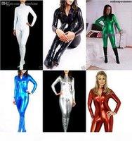 Wholesale-détails sur la qualité supérieure !! Métallique Lycra Zentai Spandex Costume Costume Front Zip