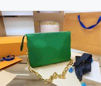 Women Single Shoulder Bag 21ss Wide Strap Chain Letter Print...