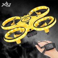 XKJ MINI Watch RC Drohne Sensing Geste Infrarotinduktion Quadcopter Intelligente Fernbedienung LED UFO Hubschrauber Spielzeug für Junge 210726