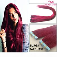 50% OFF Free DHL # BURG Tape hair extensions 7A REMY HAIR 40pcs lot tangle free Indian Mongolian Burgundy Tape in Human Hair Extension