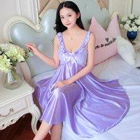 Women's Sleepwear Bridsmaid XXL Female Satin Nightgown Lady Sexy Spaghetti Strap Night Dress Women Nighties Sleeveless Nightwear