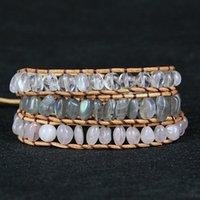 Tennis 2021 Multilayered Labradorite Leather Wrap Bracelet For Women Luxury Crystal Boho Style Friendship Weave Jewelry Drop