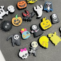 MOQ 2ets Halloween Days Ghost Skull Witch PVC shoe charms shoecharm buckles fashion accessories soft rubber jibitz for croc shoes DIY Wristbands Girls Kids Gift