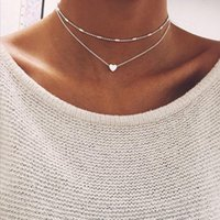 Chokers Multi Layer Tiny Small Heart Moon Choker Necklace For Women Gold Color Short Chain Pendant Collar Jewelry Gift