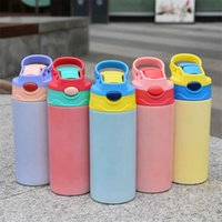 Sublimation Straight Tumbler Water Bottles 12oz Sippy Cup Thermal Transfer Printing Flip Cups UV Color Changing Tumblers Stainless Steel Coffee Mug A02
