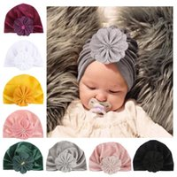 Caps & Hats Baby Girls Hat Hair Head Wrap Cap Fashion Flower Design Boys Child Bowknot Solid Color Stretchy Turban Casual