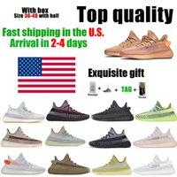 Negli Stati Uniti Kanye West scarpe da corsa di alta qualità uomini donne terra nero statico blackand rossa con scatola semium size luce argilla crema bianca 36 ~ 46 magazzino