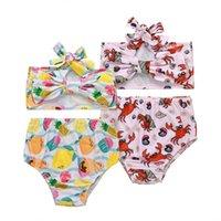 الأطفال الفاكهة طباعة قطعتين ملابس السباحة طفل الفتيات القوس قمم + السراويل 2 قطعة / المجموعة ملابس السباحة 2021 الصيف الأزياء بوتيك الاطفال بيكيني