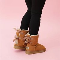 HOT Australia Baby Bailey 2 Bows Snow girls childrens boots Style Cow Suede Leather Waterproof Winter Cotton Warm boots shoes kids eu21-35
