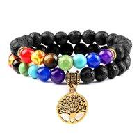 Beaded, Strands 2pcs set 7 Chakra Bracelet Tree Of Life Reiki Natural Tiger Eye Lava Stone Beads Bracelets For Women Men Healing Prayer Jewe