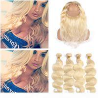 "#613 Blonde Human Hair 4Bundles and 360 Closure Bleach Blonde Brazilian Body Wave Human Hair 360 Lace Frontal 22.5x4x2"" with Weave Bund"