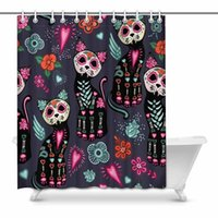 Shower Curtains Day Of The Dead And Halloween Cats Colorful Flowers Fabric Bathroom Decor