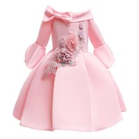 Girl Princess Dress of Lace Sequins Formal Wedding Gown with flower In two Color for2-12