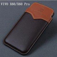 Cep Telefonu Torbalar Vivo X60 Durumda Hakiki Deri Kılıfı Pro Koruyucu Çanta Kol Funda Cilt X60PRO İnek Kapak