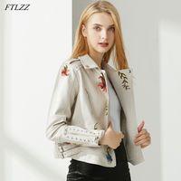 FTLZZL New Outono Mulheres Floral Impressão Bordado PU Faux Jaqueta de Couro Streetwear Punk Estilo Motociclista Abra o casaco preto de colarinho