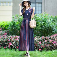 Striped Patchwork Soft Cotton Linen Thin Loose Summer Dress 2021 New Arrival Sashes Office Lady OL Work Dress Women Casual Dress