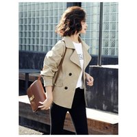Women's Jackets Fashion Lapel Trench Coat Double-breasted Short Outerwear 2021 Autumn Classic Casual Windbreaker With Belt F1017