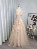 Real Image Tulle A Line Long Prom Dresses V Neck Lace Applique Evening Party Gowns Zipper Back Bride Formal Robe De Marrige
